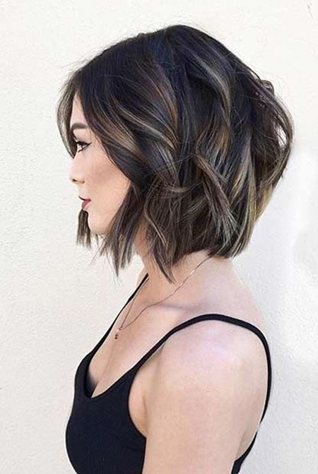 Hair Balayage, Wavy Short Bob Black