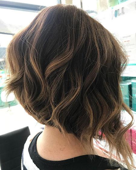 Brunette Hair, Wavy Bob Hair Balayage