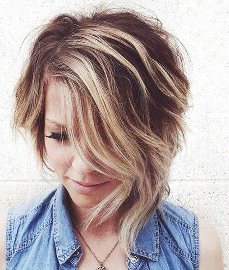 Wavy Hair with Low Lights, Short Asymmetrical Blonde Bob