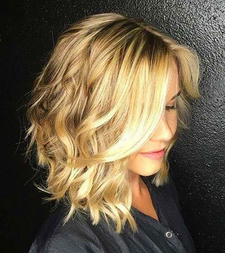 Medium Wavy Bob, Hair Blonde Color Balayage