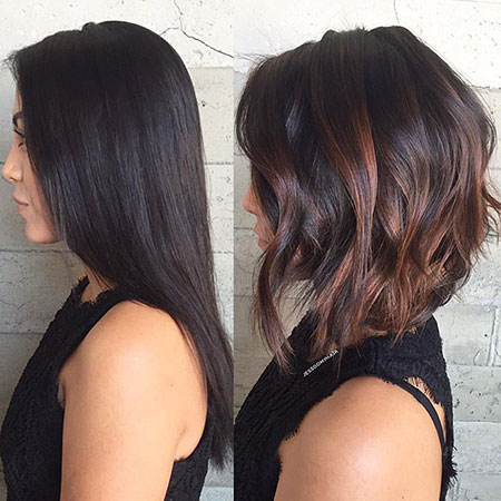 Long Inverted Bob Hairtyle, Bob Choppy Balayage Inverted