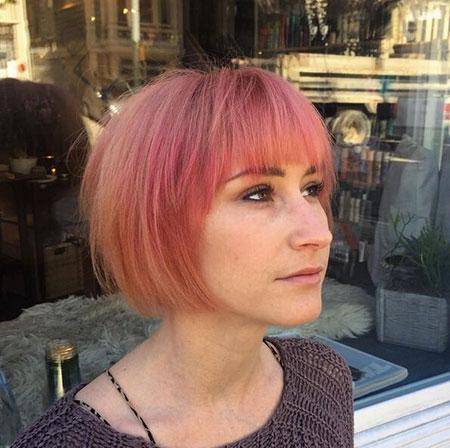 Bob Hair Pink Bangs