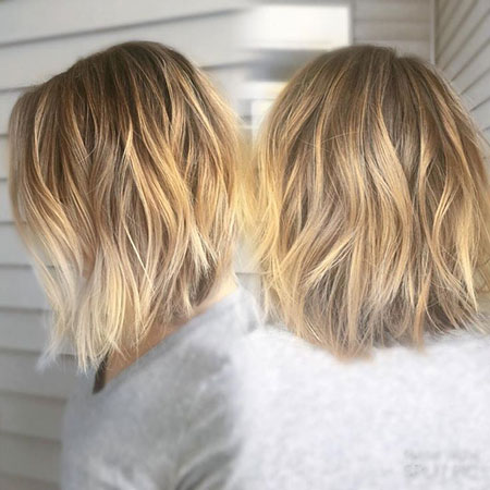 Choppy Balayage Bob Blonde