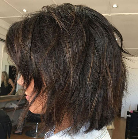 Bob Shaggy Medium Brunette