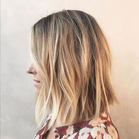 Balayage Lob Shaggy Hair