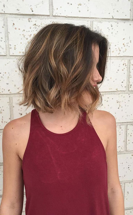 Above Shoulder Length, Short Brunette Hair Balayage