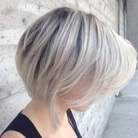 Inverted Short Bob, Bob Balayage Blonde Thin