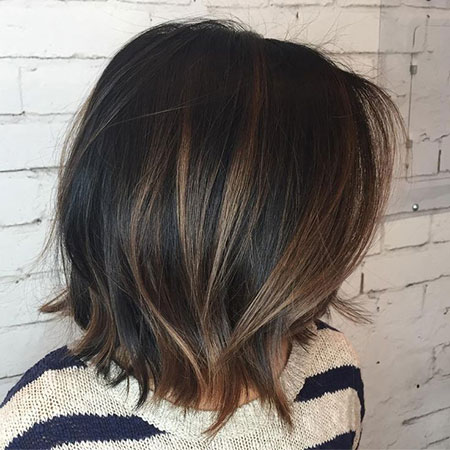 Soft Lights, Brown Bob Choppy Balayage