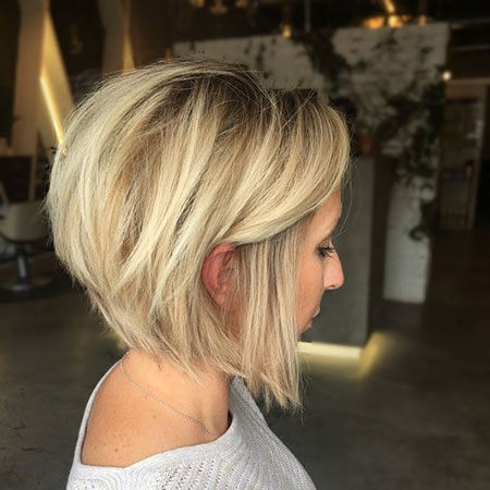 Razored Cut Bob, Bob Blonde Short Angled