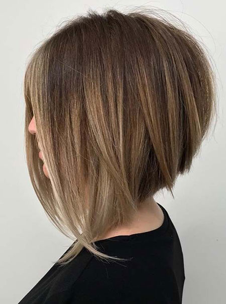 Inverted Stacked Cut, Bob Stacked Hair Choppy