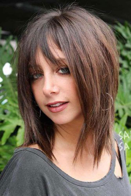 Fine Bangs, Hair Bob Length Layered
