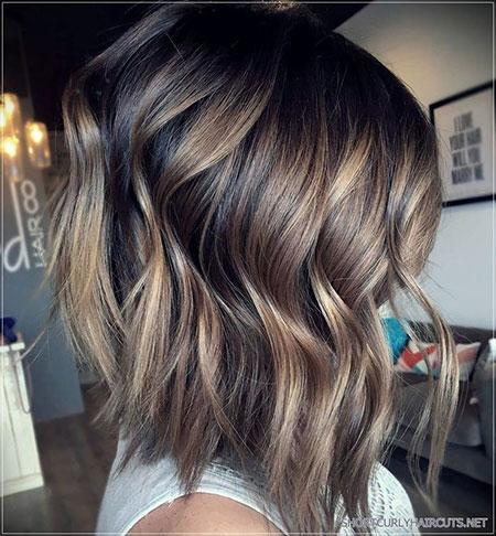 Wavy Balayage Hair, Hair Balayage Brunette Bob