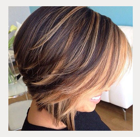 Caramel Highlights, Short Bob Inverted Hair
