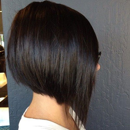 Straight Dark Brown Hair, Bob Brunette Short Angled