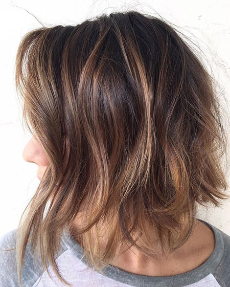 Brown Caramel Bob Highlights