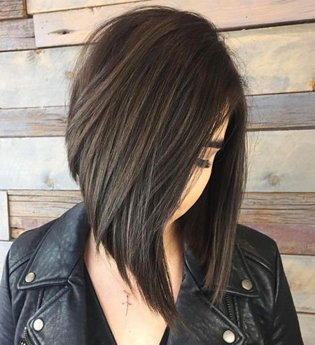 Lob Brunette Bob Choppy