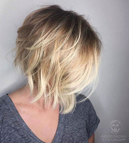 Bob Blonde Balayage Layered