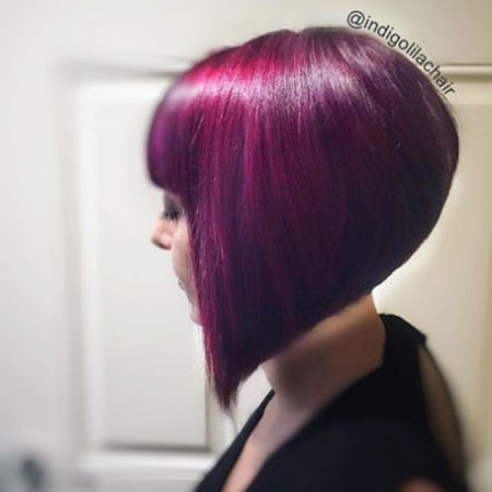 Hair Purple Bob Color