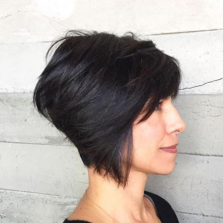 Pixie Bob Black Hair, Bob Pixie Short Stacked