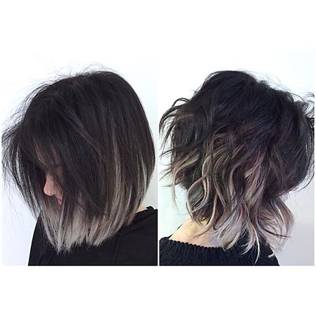 Dark Roots Grey Ombre Short Hair, Short Bob Choppy Purple