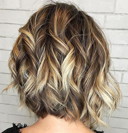 Blonde Lights on Wavy Bob, Wavy Bob Inverted Bronde