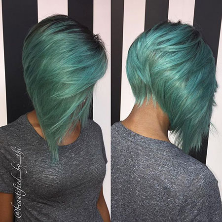 Asymmetrical Reverse Cut, Hair Bob Purple Color