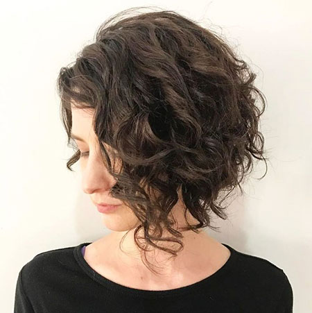 Thick Curly Angled Hair, Curly Bob Brunette Brown