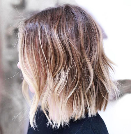 Long Bob Hair with Balayage, Bob Choppy Balayage Bronde