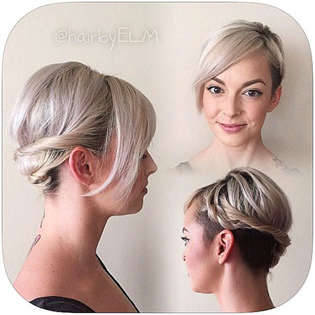 Cute Short Hair Bun, Short Pixie Undercut Cut