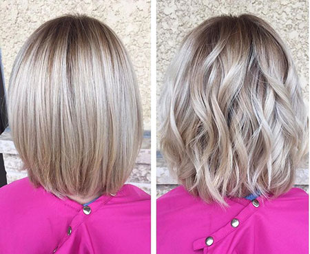 Soft Wavy Hair, Bob Blonde Blunt Balayage