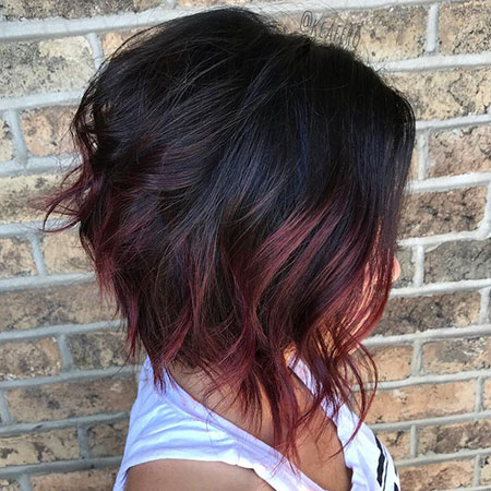 Burgundy Bob Balayage Inverted
