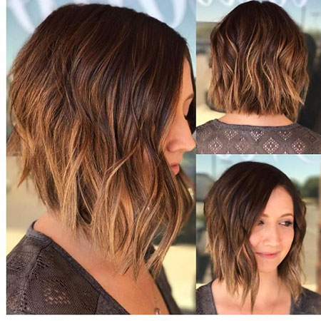 Bob Balayage Brown Choppy