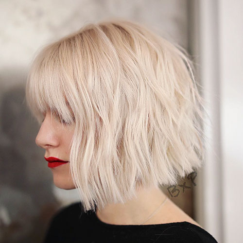 Textured Blonde Bob Hair