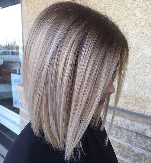 Short Straight Blonde Balayage Hair