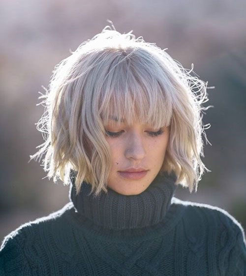 Messy Bob Hairstyles with Bangs-11