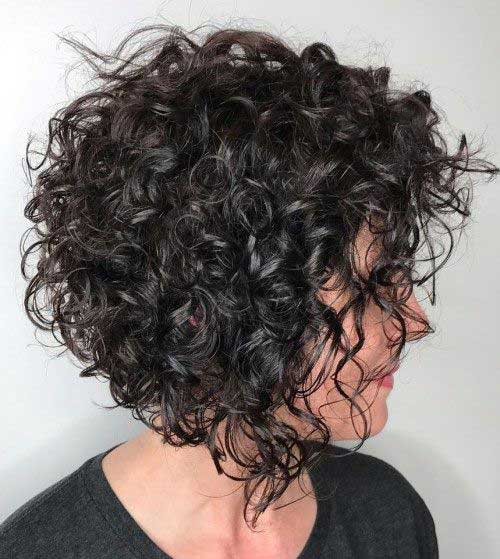 Inverted Bob Haircuts for Dark Brown Curly Hair-10