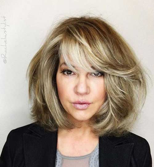 Layered Side Bangs Bob Haircuts for Women Over 40-14