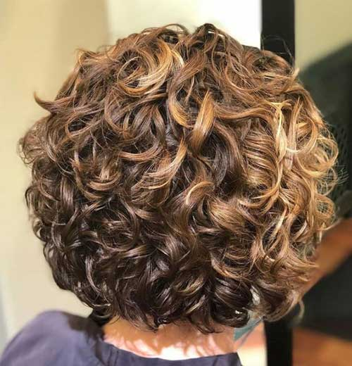 Back View of Stacked Bob Haircuts for Curly Hair-8