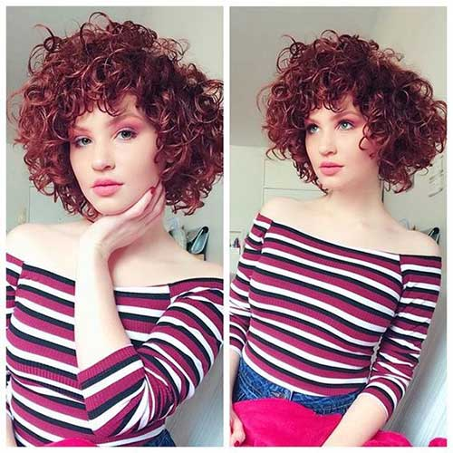 Red Colored Curly Bob Hairstyles-7