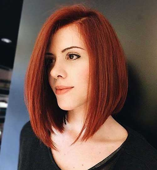 Red Colored Long Bob Hairstyles-9