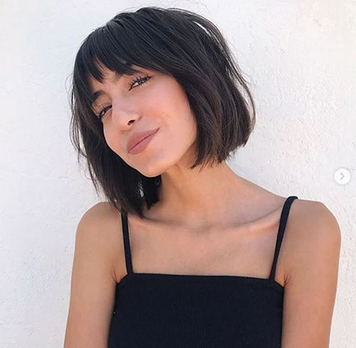 Chin Length Bob With Bangs