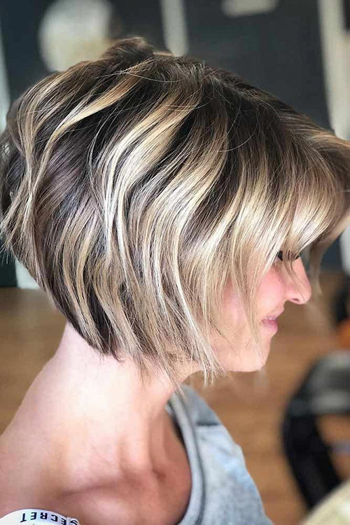 Stacked Bob Hairstyles With Bangs